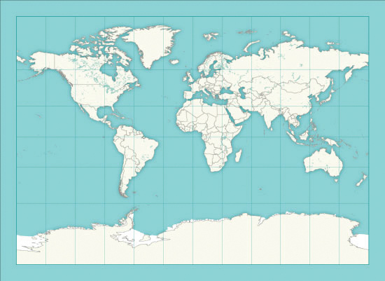 art prints - The world map with countries outlined by Rosana Laiz · Blursbyai