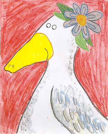 art prints - Ms. Quacky with flowers by erin mcgill
