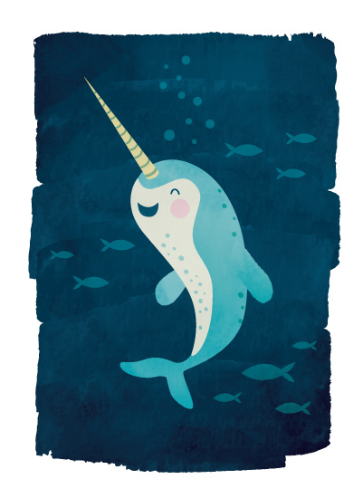 art prints - littlest narwhal by Susan Asbill