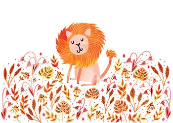 Lion in the flowers