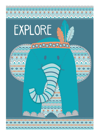 art prints - elephant explorer by Diane Eichler