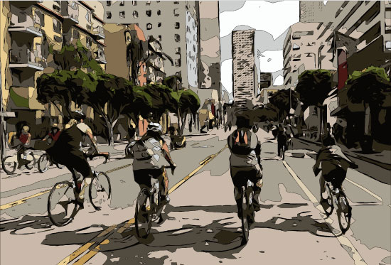 art prints - Biking in the City by Evie Kristen