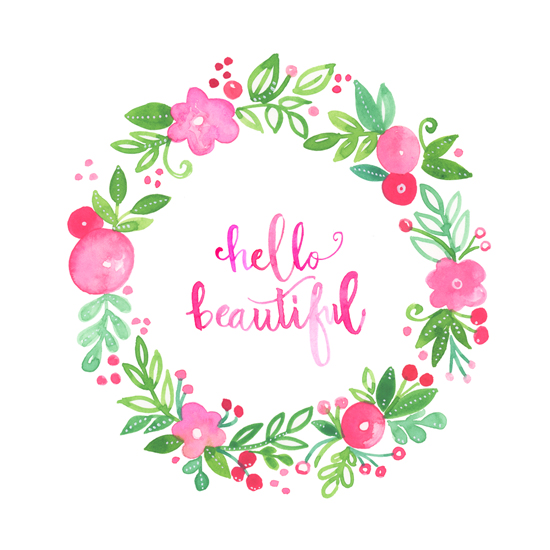 art prints - Hello Beautiful floral wreath by Kathryn Cole