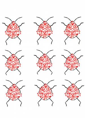art prints - Blockprint Beetles by SherbetPaperCo