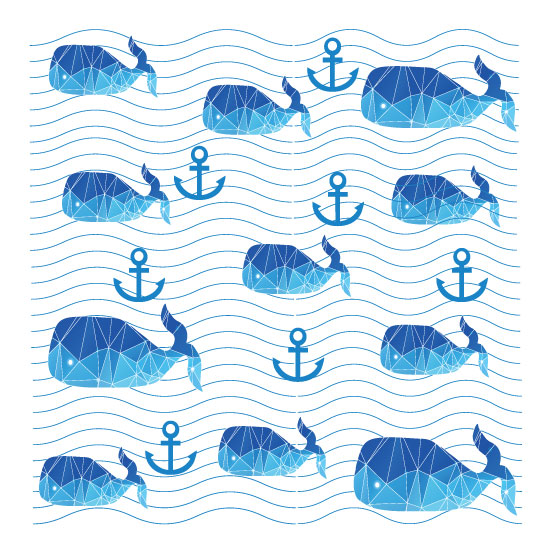 art prints - Whales on sea waves by Lesia