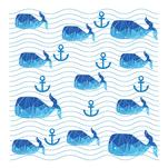 Whales on sea waves by Lesia