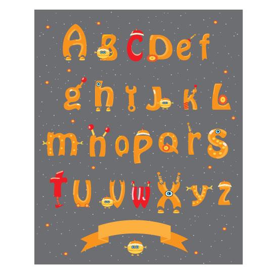 art prints - Alphabet robot by Lesia