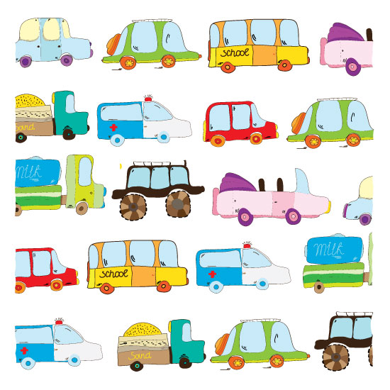 art prints - children's transport colorful by Lesia