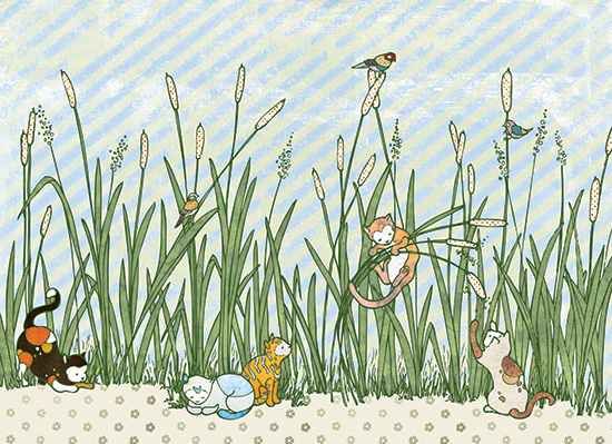 art prints - Catty Cats in Cattails by BreeAnn Veenstra