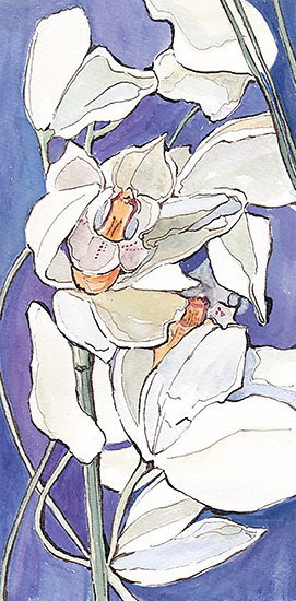 art prints - White and Purple Flowers by Santie Amery