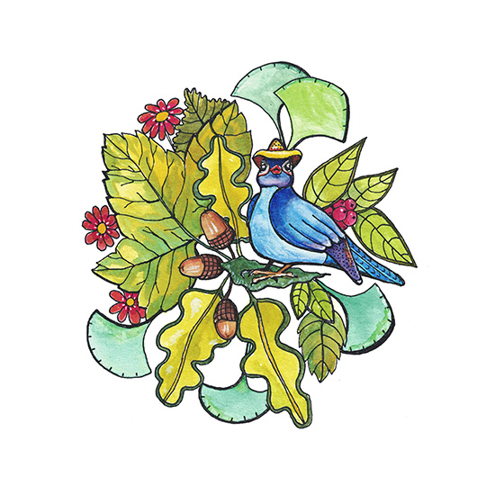 art prints - Little blue bird of happiness by Santie Amery