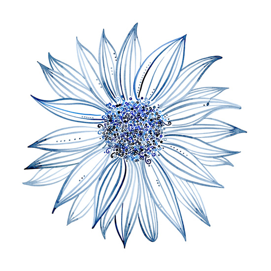 art prints - Blue Sunflower by Kathryn Cole