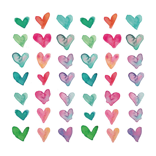 art prints - Watercolor Hearts by Winnie Jean