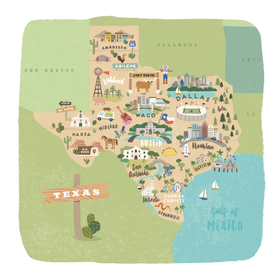 art prints - Greetings from Texas by Jennifer Wick