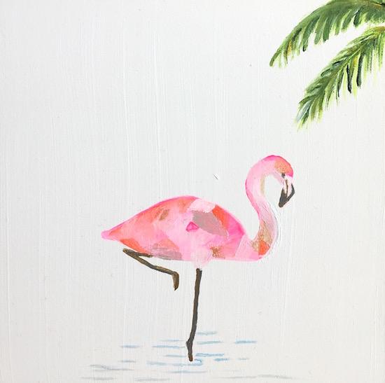 art prints - Pink Flamingo 6x6 by Hannah Lowe Corman