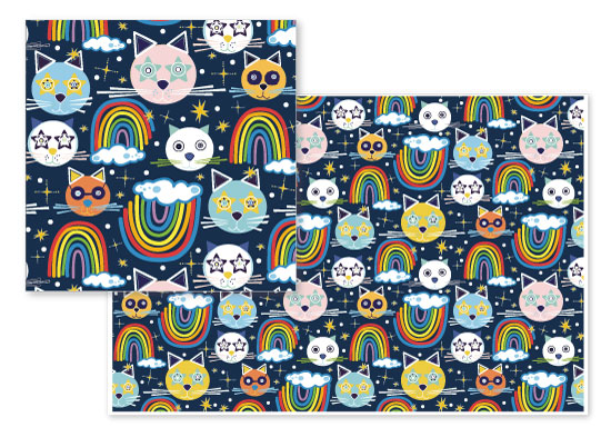 fabric - Kitty Kat Rainbows by Jime
