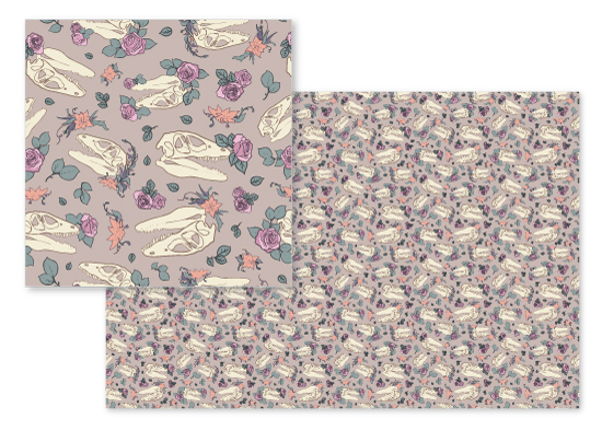 fabric - Skull Garden by Melissa Lee Shaw