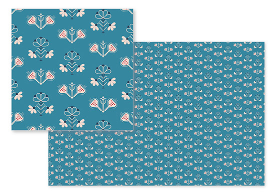 fabric - geometric floral in teal by tktinted