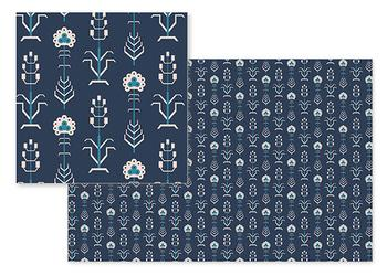 geometric floral in navy blue
