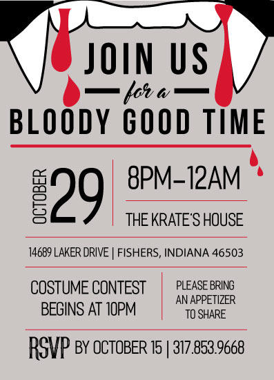 party invitations - Bloody Good Time by Kendal Leffler