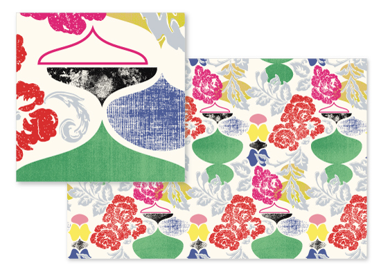 fabric - Roses + Ogees by See Three Studios
