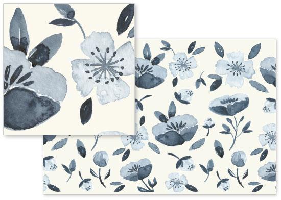 fabric - Blue Mood Bloom by Afton Harding
