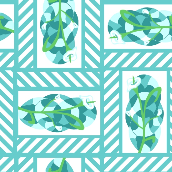fabric - Lilies with blue-green stripes by Carmelle Jolin