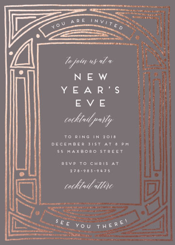 party invitations - Deco Foiled Border by Katharine Watson