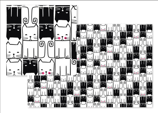 fabric - Cute Serious Cats by Lina Che