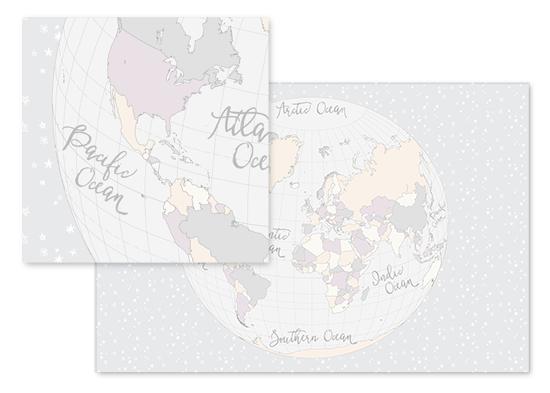 fabric - The world map globe in a field of stars  (trifecta 2) by Rosana Laiz · Blursbyai