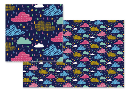 fabric - Quirky Clouds by Rebecca Humphreys