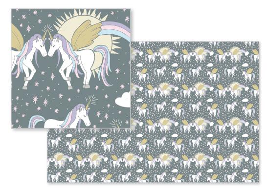 fabric - Unicorn Friendship by Kissyfish