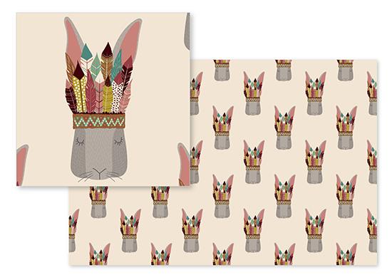 fabric - Navajo Hare by Katarina Berg