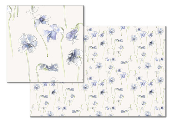 fabric - May Violets by Sonya Percival