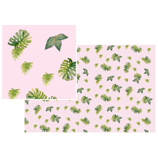 fabric - Scattered Tropical Leaves by Miriam Flower