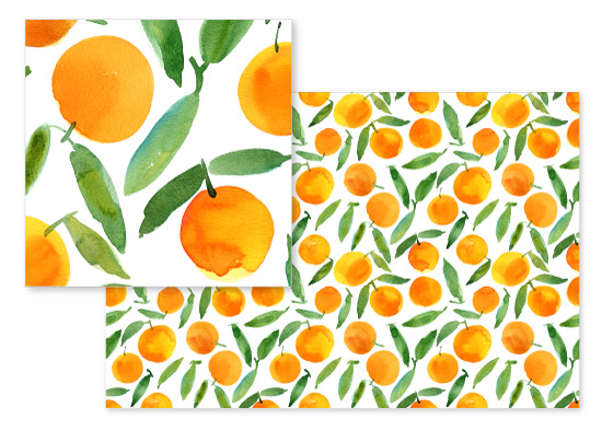 fabric - Sweet oranges by Alexandra Dzh