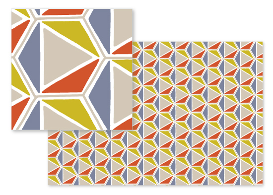 fabric - Tangram Hexagon by Meggy Masters