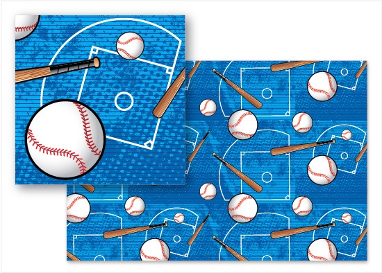 fabric - Baseball Blast by Cindy Taylor