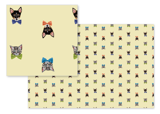 fabric - Dog and Cat Bow Tie Formal by Jenna Pellman Design