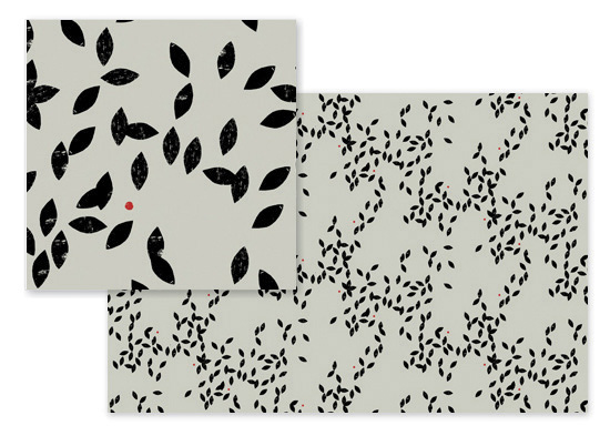 fabric - Tiny black leaves by Sumak Studio