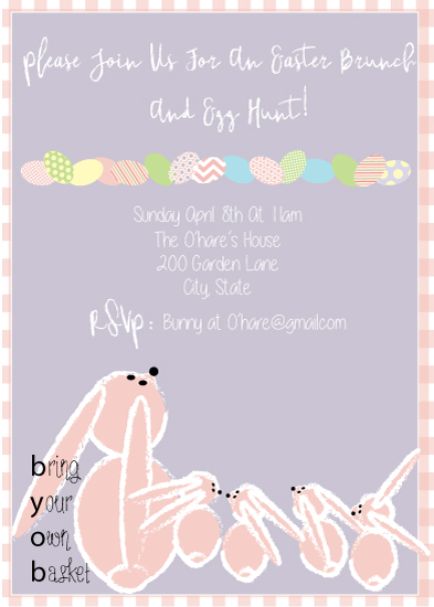 party invitations - Eggs and Bunnies by eva jones