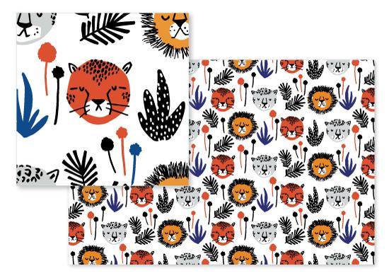 fabric - Safari Cats by Oscar and Emma