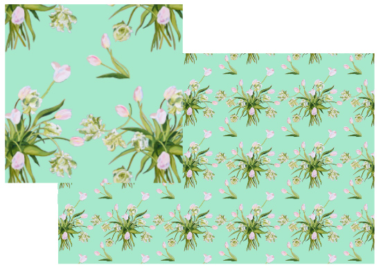 fabric - Pink tulips on mint by Reka Lena