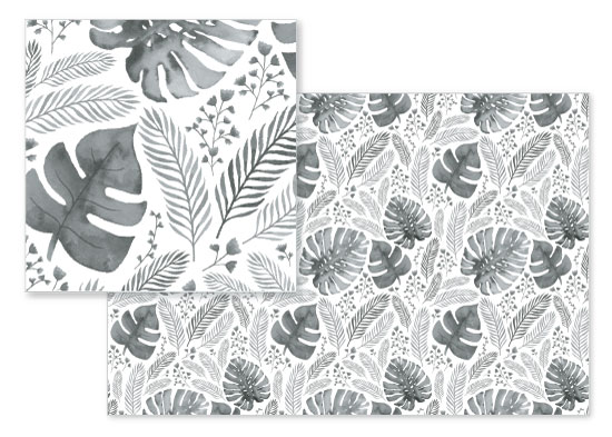 fabric - monochrome foliage by Frooted Design