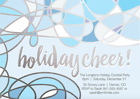 party invitations - blue holiday cheer by chrissy kelly
