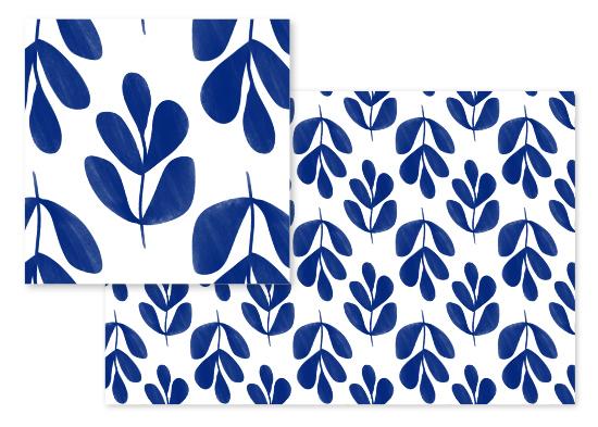 fabric - Cobalt Fronds by Angel Walker