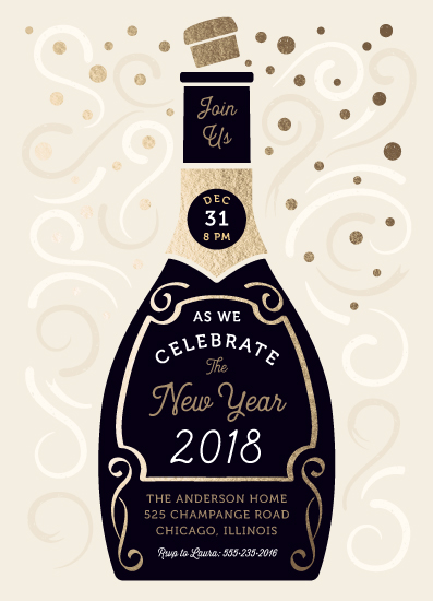 party invitations - Champagne New Year by Paper Sun Studio
