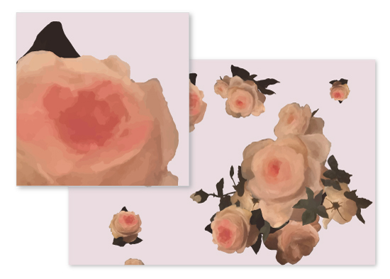 fabric - Painted Pink Roses by Emma Marson