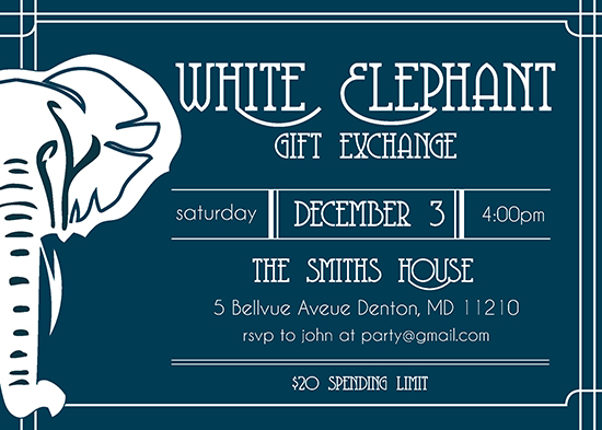 party invitations - Elegant Elephant by Kristen DeMarco Rickard