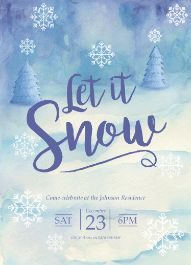 party invitations - let it snow by Emma Whitelaw